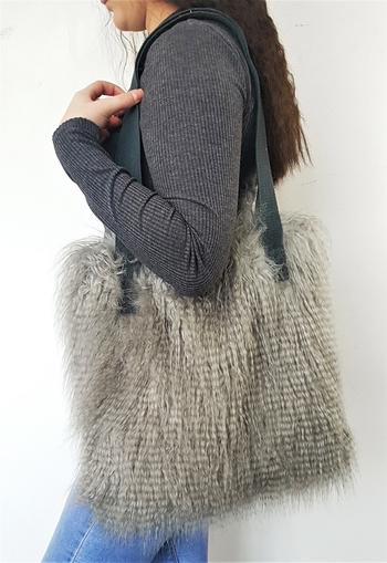 Mongolian Grey Faux Fur Tote Handbag