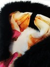 Black Mink Faux Fur and Silk Scarf Collar