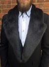 Charcoal Mink Faux Fur Mens Lapel Collar