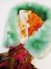 Tissavel Mint Faux Fur Silk Scarf Collar