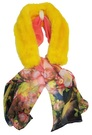 Sunshine Yellow Mink Faux Fur and Silk Scarf Collar