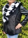 Black Mink and Houndstooth Faux Fur Pom Pom Collar Gilet