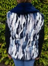 Tissavel Harlequin and Petrol Blue Faux Fur Pom Pom Collar Gilet