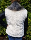 Ivory Astra and Blue Ridge Mountain Faux Fur Pom Pom Collar Gilet