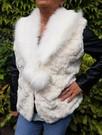 Ivory Astra and Polar Bear Faux Fur Pom Pom Collar Gilet