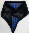 Midnight Navy Blue and Tartan Asymmetric Scarf