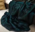 Emerald Black Faux Fur Throw