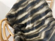 SALE Long Chinchilla Faux Fur Throw with Chocolate Velboa