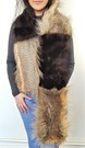 Mahogany Mink and Desert Coyote Faux Fur Striped Scarf