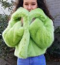 Pistachio Faux Fur Cropped Jacket