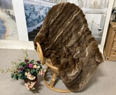 SALE Russian Sable Faux Fur Throw with Mocha Velboa